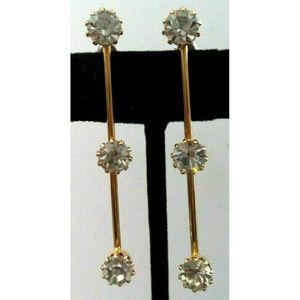vintage long gold rhinestone drop earrings pierced